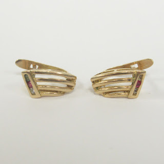 14K Gold and Multi Stone Earrings