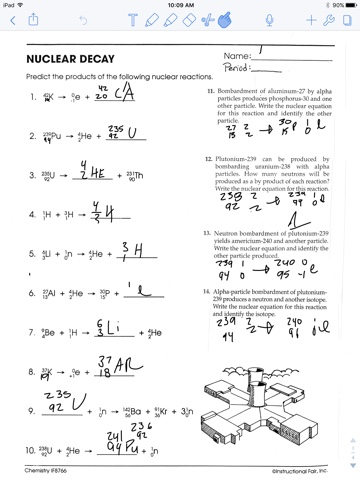 Chemistry : Nuclear decay worksheet