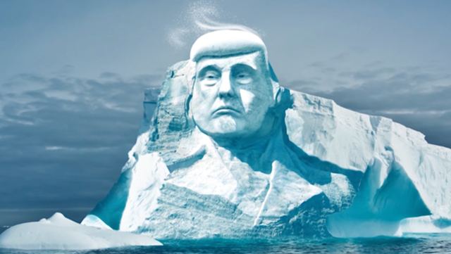 An illustration of 'Project Trumpmore'. An environmental group wants to carve President Trump's face into an arctic iceberg for one special purpose: To prove climate change is happening. 'Melting Ice', a Finnish non-governmental organization wants to raise about $500,000 to carve President Trump's face and prove the climate change exists. Graphic: Melting Ice / Project Trumpmore