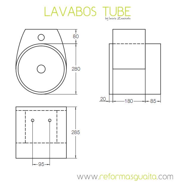 Tube, Cube y Sphere, lavabos italianos suspendidos ~ Reformas Guaita