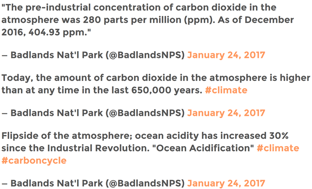 Tweets from the U.S. National Park Service on 24 Janury 2017, posted in defiance of a gag order from the Trump regime, presenting facts established by climate science. Graphic: National Park Service / U.S. Uncut