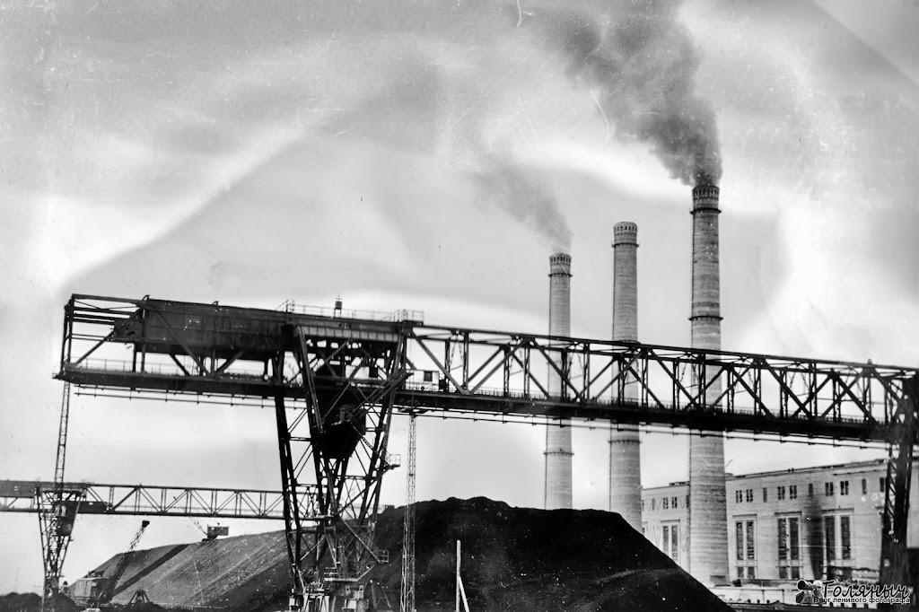 Архивная фотография Черепетской ГРЭС. Угольные склады