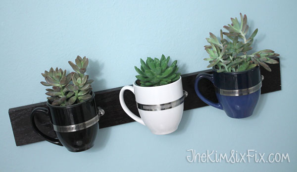 Wall mounted coffee cup planter