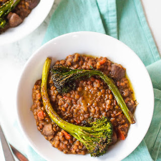 Creamy Lentils and Mushrooms with Roasted Broccolini.