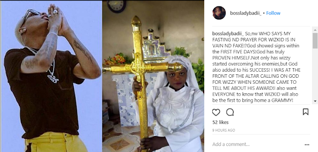 Nigerian Lady Who Vowed To Go On 21 Days Dry Fasting For Wizkid, Give Update
