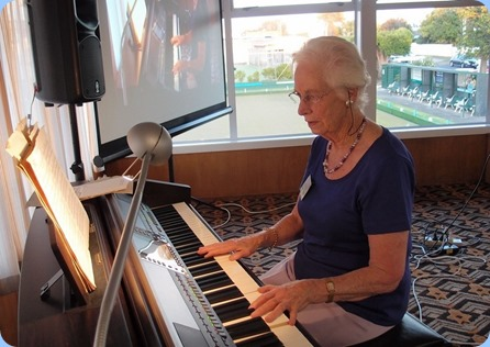 Dorothy Waddel playing the Club's Clavinova CVP-509. Lovely choice of songs and beautiful arrangements which were programmed into the machine courtesy of Rob Powell. Photo courtesy of Dennis Lyons.