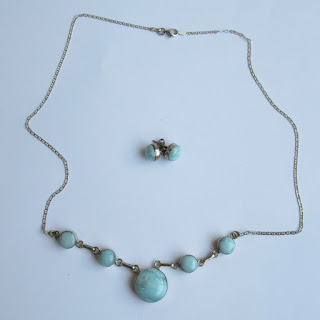 Sterling Silver and Blue Stone Necklace and Earrings Set