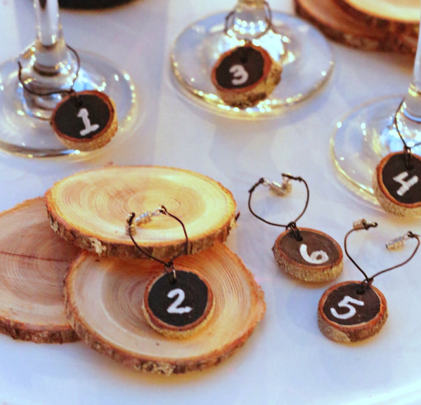 wood slice wine charms