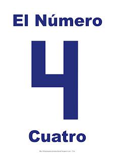 Lámina para imprimir el número cuatro en color Azul