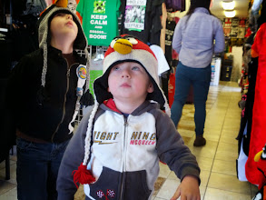 Photo: Clark and Finn Angry Birds Hats in SF