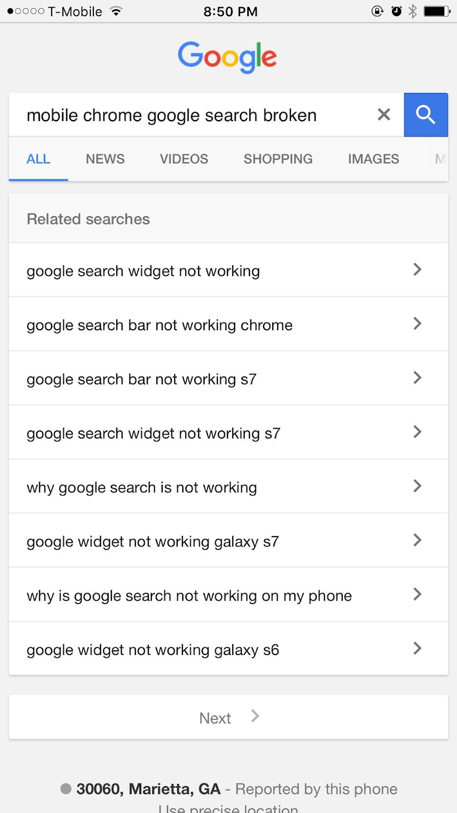 phone number not showing search display