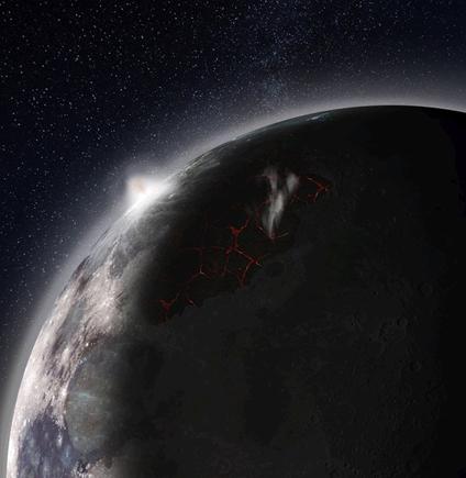 ilustração da erupção vulcânica no Mare Imbrium da Lua
