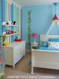 dr. suess girl's room, bedroom with decor and props, theme by Aaron Christensen