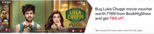 BookMyShow - Buy a movie voucher for Luka Chuppi worth Rs. 199 & get instant discount of Rs. 99
