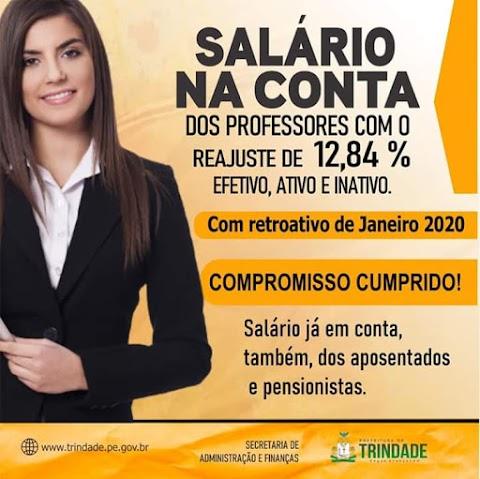 DINHEIRO NA CONTA DOS PROFESSORES COM O REAJUSTE DE 12,84 %