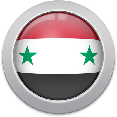 Syrian flag icon with a silver frame