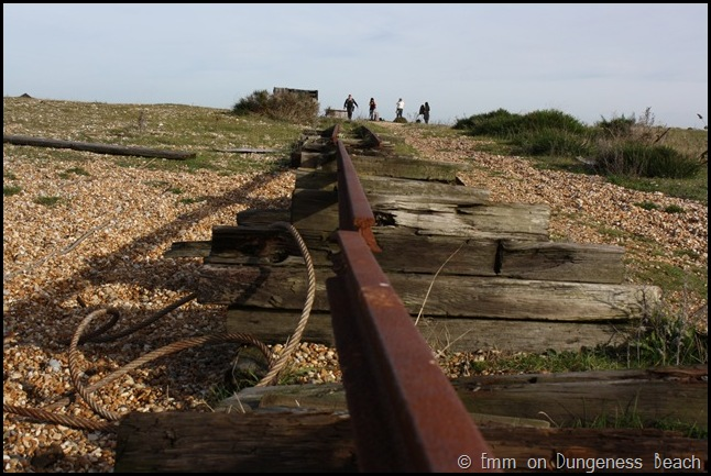 Old rail tracks on Dungeness beach