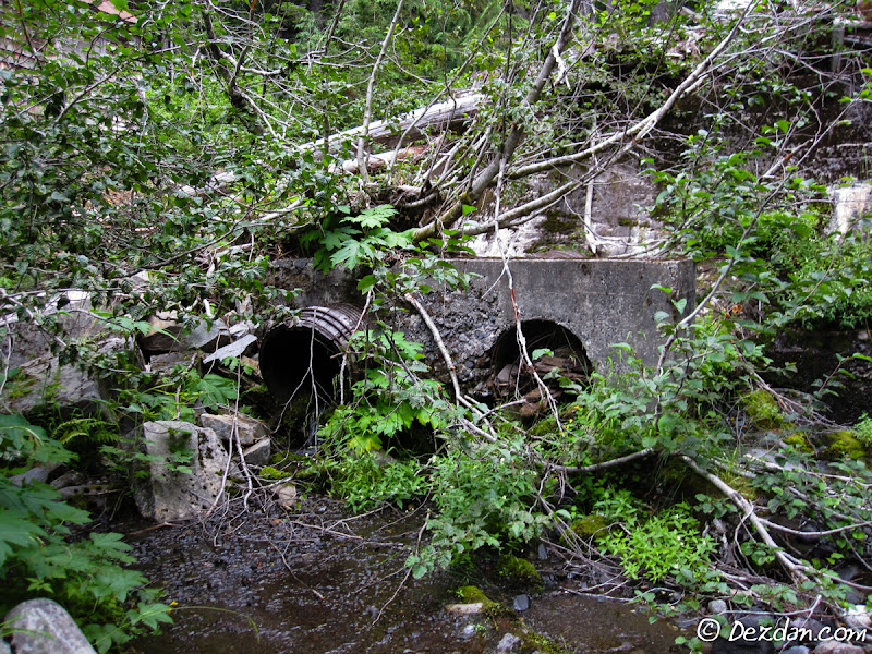 Remains of the penstock intake existing the dam structure.