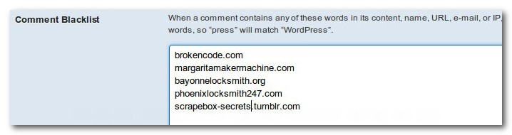 comment blacklist wordpress