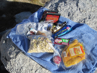 A well-rounded menu: a babybel cheese to start, Miso soup as the first course, beef Stroganov, mangos, and a bar for dessert ©http://backpackthesierra.com