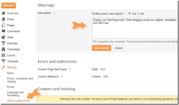 blogspot meta description box