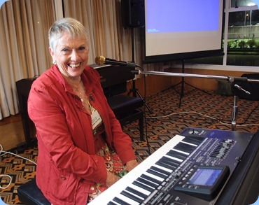 Our special guest artist, Jeanette Harding. Jeanette and husband Jim are members of the Club and came from New Plymouth for the performance. Jeanette plays a Korg Pa3X. Photo courtesy of Dennis Lyons.