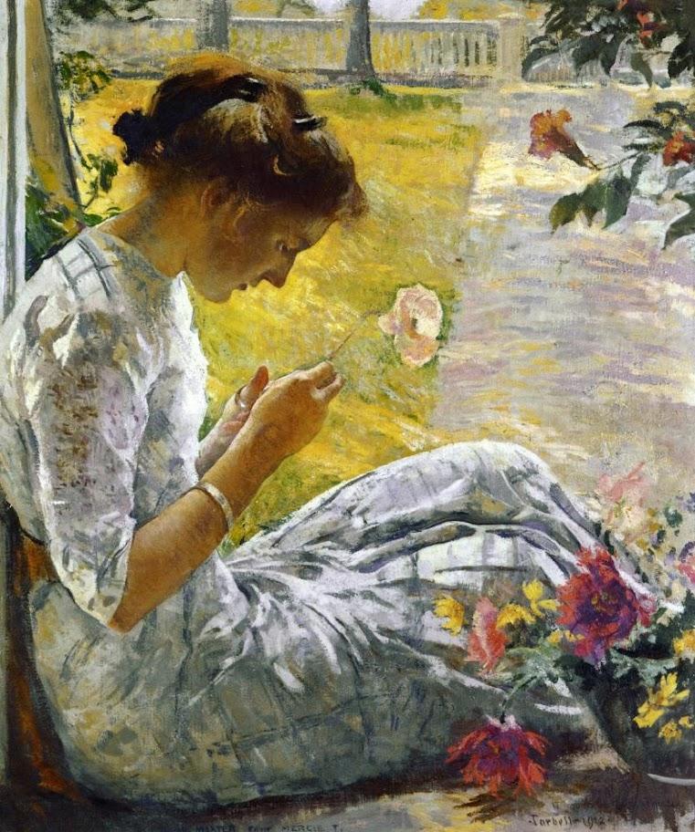 Edmund Charles Tarbell - Mercie Cutting Flowers