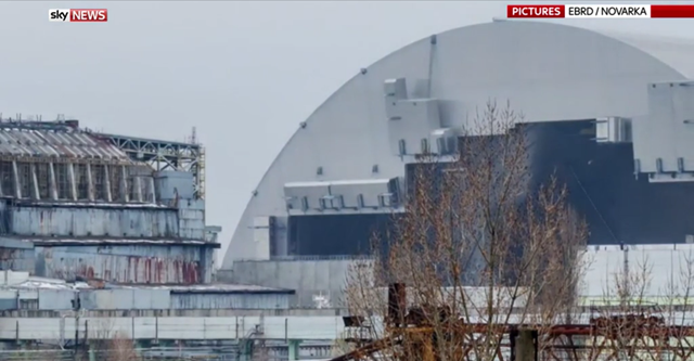 Workers completed a massive shelter over the Chernobyl nuclear plant's exploded reactor on 29 November 2016, one of the most ambitious engineering projects in the world that one expert said had closed 'a nuclear wound'. Photo: EBRD / Novarka / Sky News