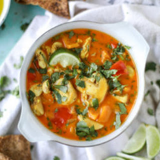 Golden Coconut Chicken Soup with Spiced Pitas.