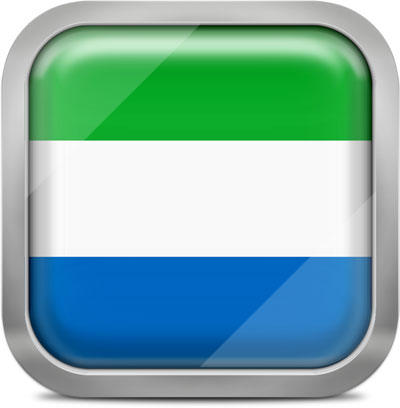 Sierra Leone square flag with metallic frame