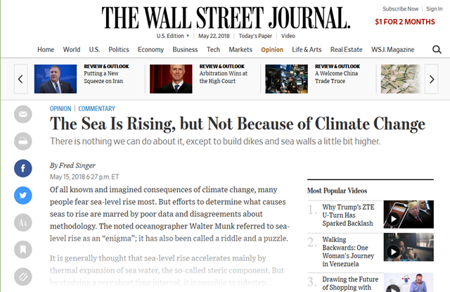 "Screenshot of an opinion piece by Fred Singer on 15 May 2018, published in The Wall Street Journal, titled ""The Sea Is Rising, but Not Because of Climate Change"" that misrepresents climate science egregiously. Graphic: The Wall Street Journal"