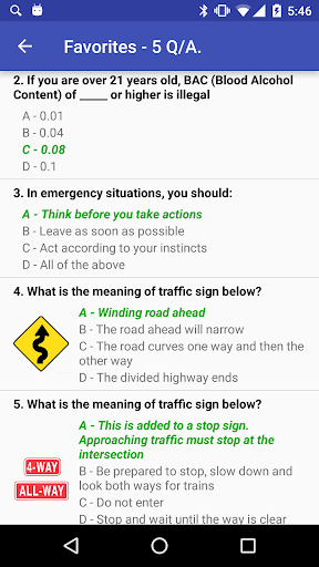 New York DMV practice test - screenshot