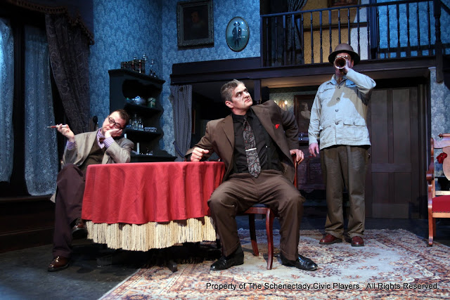 Richard Michael Roe, Daniel Martin and Robert Hegeman in ARSENIC AND OLD LACE (R) - May 2011.  Property of The Schenectady Civic Players Theater Archive.