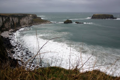 Sea near the Carrick a Rede Rope Bridge in Northern Ireland