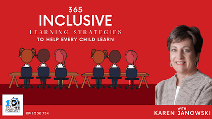 Image of Karen Janowski on right side with text that says 365 Inclusive Learning Strategies that Help every child.