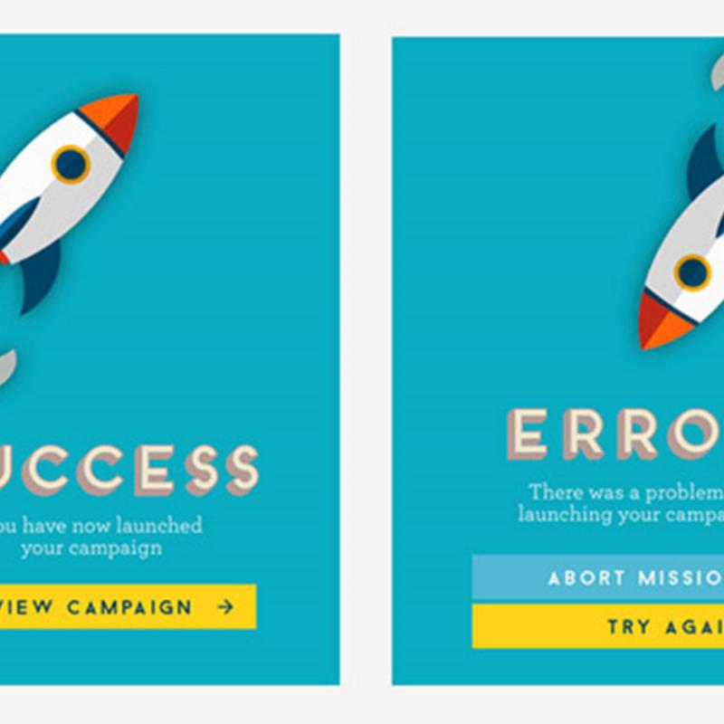 15 ejemplos de mensajes emergentes de error y acierto