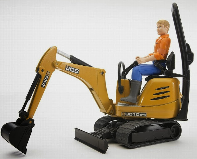 Bruder Bworld JCB Micro Excavator 8010 CTS and Construction Worker