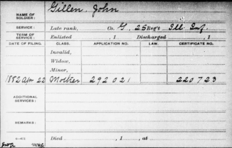 GILLEN_John_pension card applied for by his mother on 22 Apr 1882