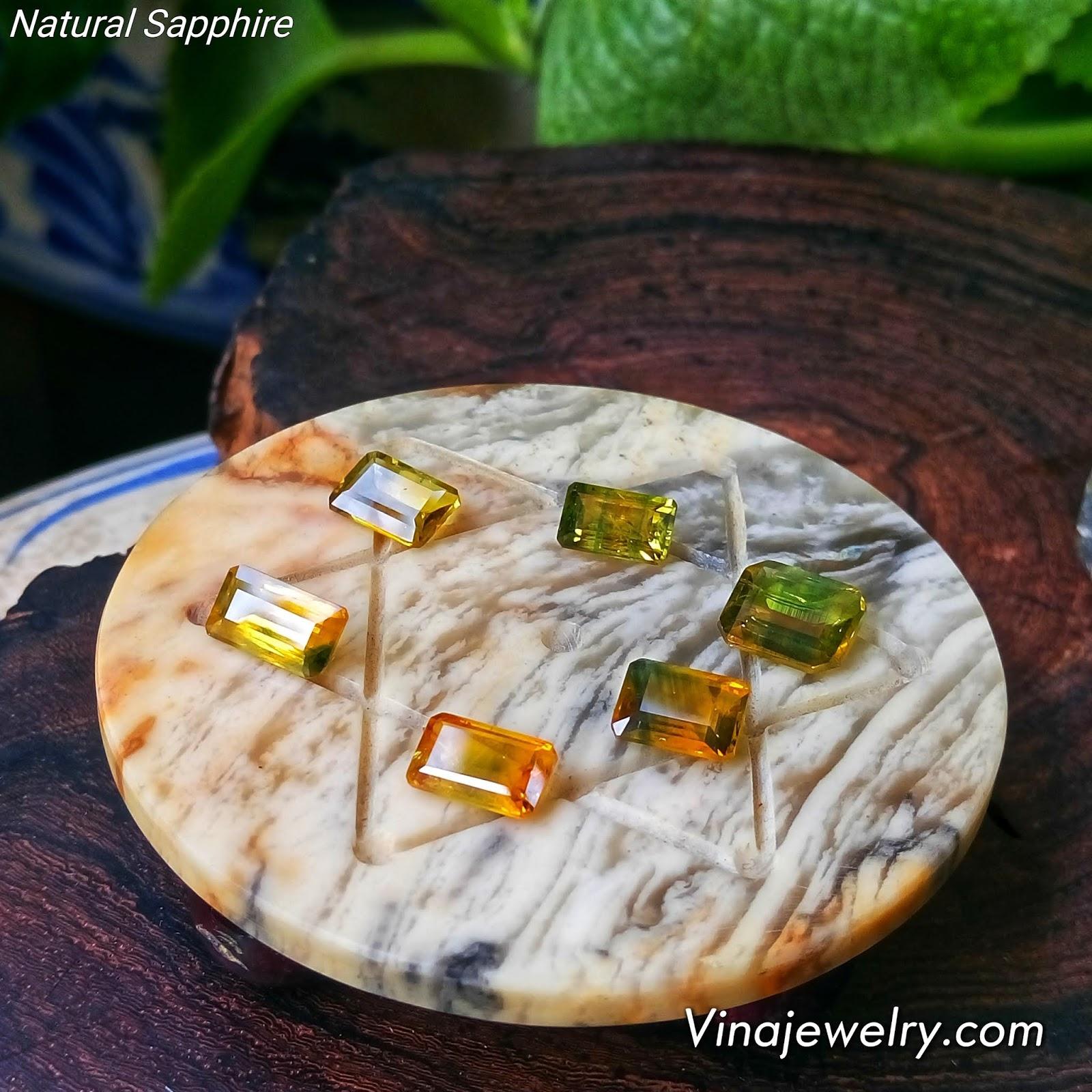 Đá Sapphire vàng thiên nhiên, hàng Việt Nam tuyển chọn sạch đẹp lửa mạnh