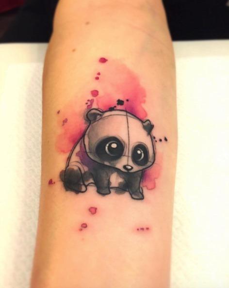 Este adorável aquarela panda