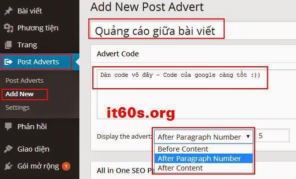 Cách nhúng quảng cáo vào bài viết Wordpress đơn giản 4