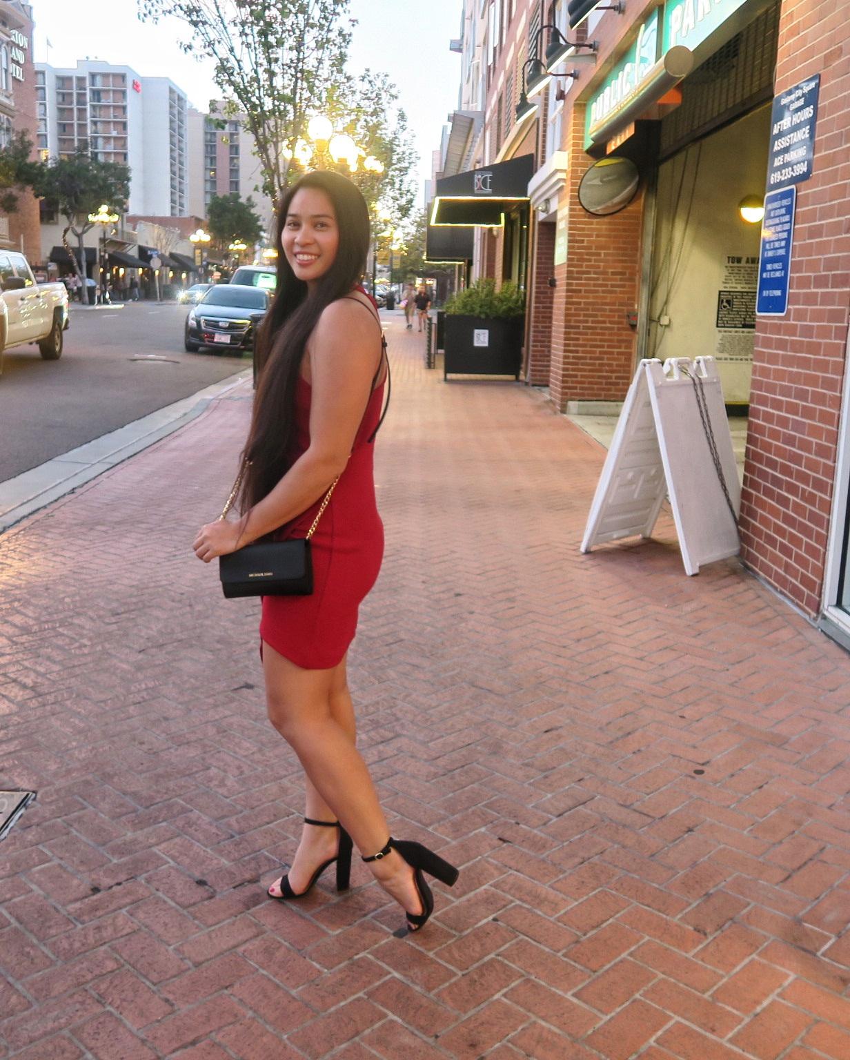 Red ootd san diego gaslamp district merona target shoes