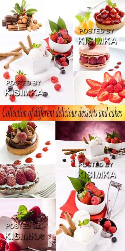 Stock Photo: Collection of different delicious desserts and cakes