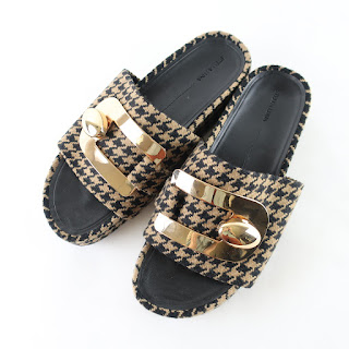 Stella Luna Herringbone Brown/Black Slides