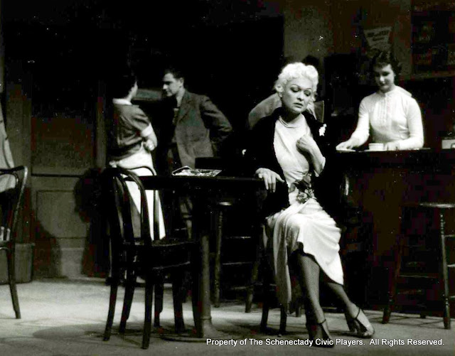 Harriett McMullen, Max Hall, Helen Rudsill and Cindy Brown in BUS STOP - January 1958.  Property of The Schenectady Civic Players Theater Archive.