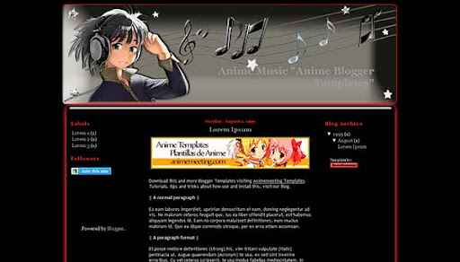 'Anime Plantilla Blogger' Anime Music Template
