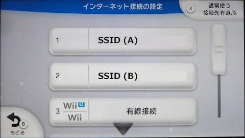 この本体で使用できる接続先の一覧に「有線接続」が加わる。また、先頭に付くWii U/Wiiロゴは通常使用される接続先を表している。