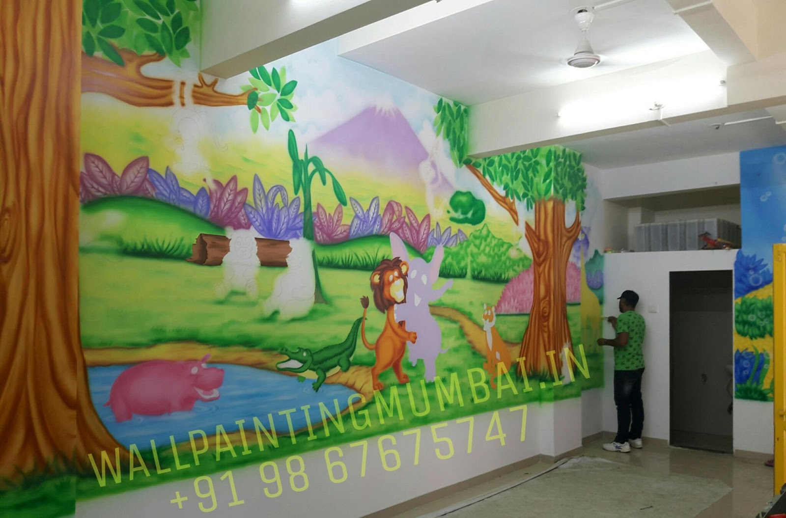 Classroom Decoration Wall Painting ~ Play school wall painting kindergarten classroom