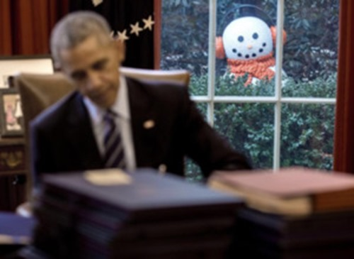 obama and the snowman
