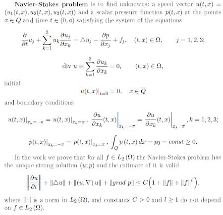 Mathematics problems: Navier-Stokes equations